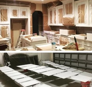 Kitchen cabinets being spray painted in Colorado