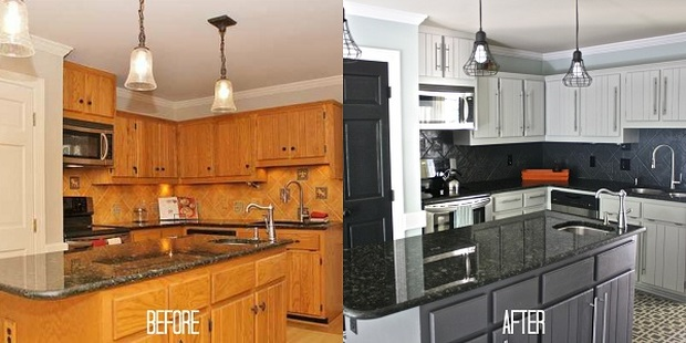 Kitchen Cabinets Painted Before.After
